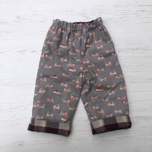 flannel reversible pants, gray lion and plaid flannel - little girl Pearl