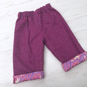 Flannel reversible pants in deer of the forest - little girl Pearl