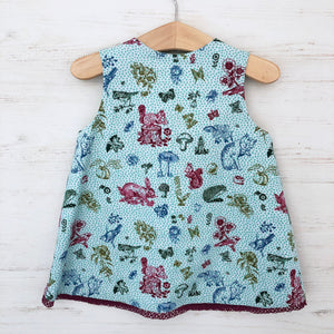 reversible squirrel pocket jumper dress, LIMITED EDITION - little girl Pearl