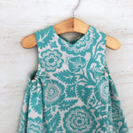 Load image into Gallery viewer, reversible jumper dress in aqua woodblock - little girl Pearl
