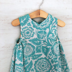 reversible jumper dress in aqua woodblock - little girl Pearl