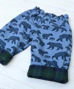 Load image into Gallery viewer, flannel reversible pants in bear family - little girl Pearl