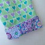 Load image into Gallery viewer, flannel reversible pants in mint heart - little girl Pearl