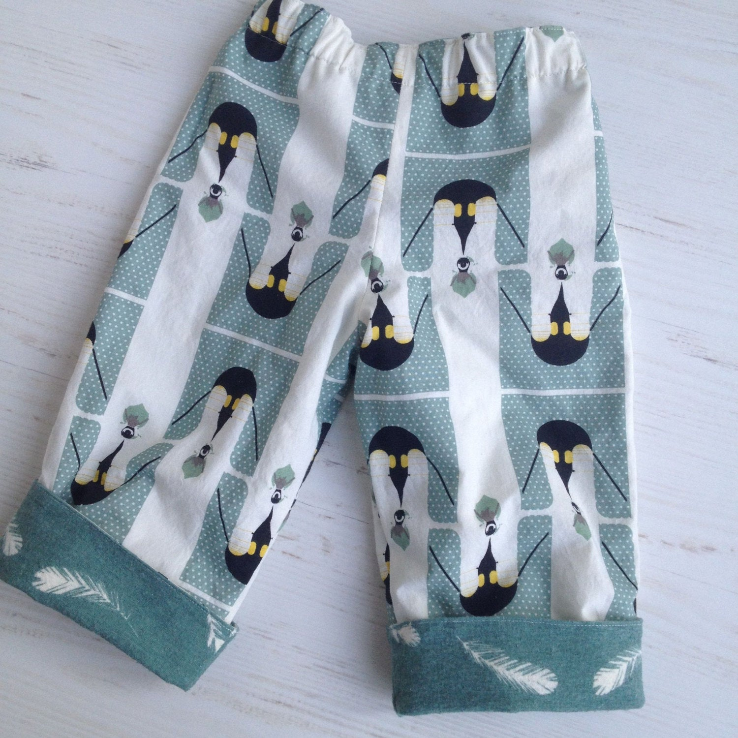 flannel reversible pants in Charley Harper Penguins and Feathers sizes - little girl Pearl