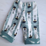 Load image into Gallery viewer, flannel reversible pants in Charley Harper Penguins and Feathers sizes - little girl Pearl