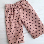 Load image into Gallery viewer, reversible pants in organic cotton and linen blend, birch trees and polka dot - little girl Pearl