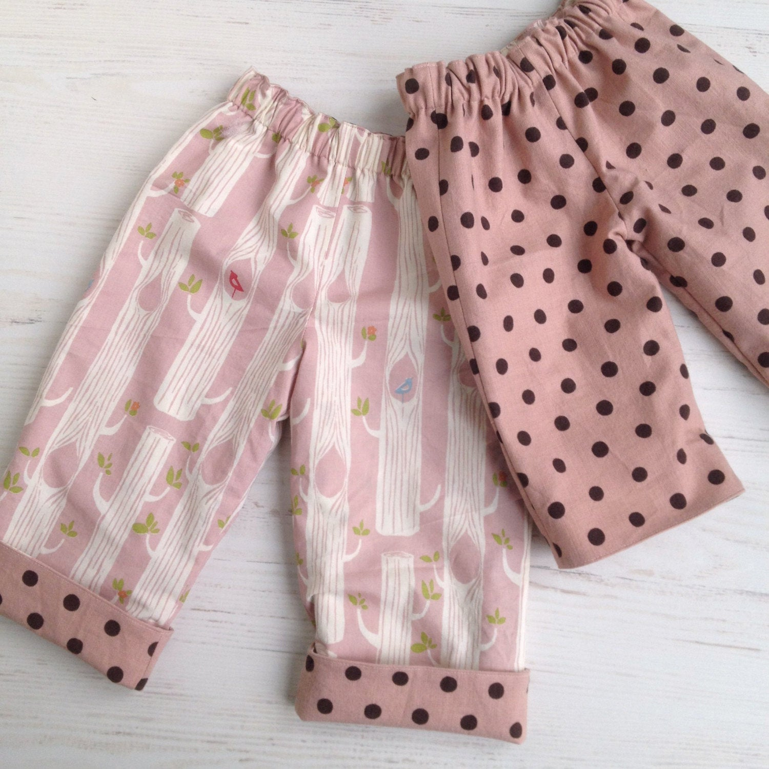 reversible pants in organic cotton and linen blend, birch trees and polka dot - little girl Pearl