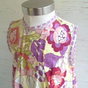 petite pleat dress in soft yellow and lilac, ONE OF A KIND - little girl Pearl