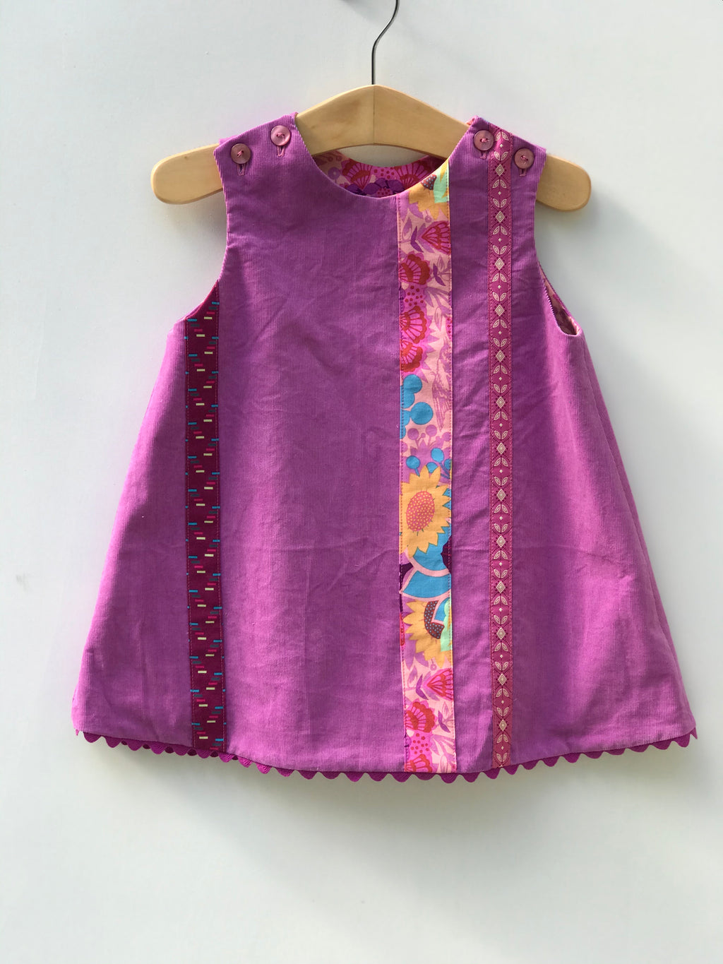 reversible corduroy stripe jumper dress in mulberry purple - little girl Pearl