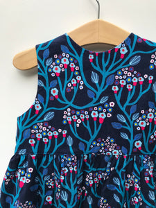 ruffle pop dress in navy wandering vine - little girl Pearl