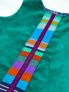 reversible swing jumper in empire green corduroy and jade stitchery - little girl Pearl