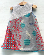 Load image into Gallery viewer, reversible balancing birds dress in gray and teal - little girl Pearl