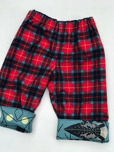 flannel reversible pants in Charley Harper loons - little girl Pearl
