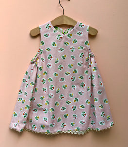 reversible jumper dress in pink and green bouquet - little girl Pearl