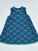 Load image into Gallery viewer, reversible swing jumper in empire green corduroy and jade stitchery - little girl Pearl