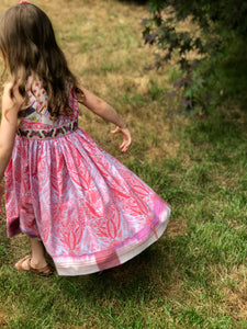mad patchwork jumper dress in lilac, size 5, one of a kind - little girl Pearl