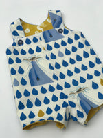 Load image into Gallery viewer, reversible shortalls in Charley Harper dolphin and sand dollar, organic cotton romper - little girl Pearl