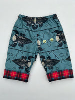Load image into Gallery viewer, flannel reversible pants in Charley Harper loons - little girl Pearl