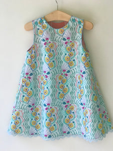 ghost wing asymmetric reversible jumper dress in aqua, LIMITED EDITION - little girl Pearl