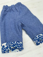 Load image into Gallery viewer, flannel reversible pants in royal blue elephant - little girl Pearl