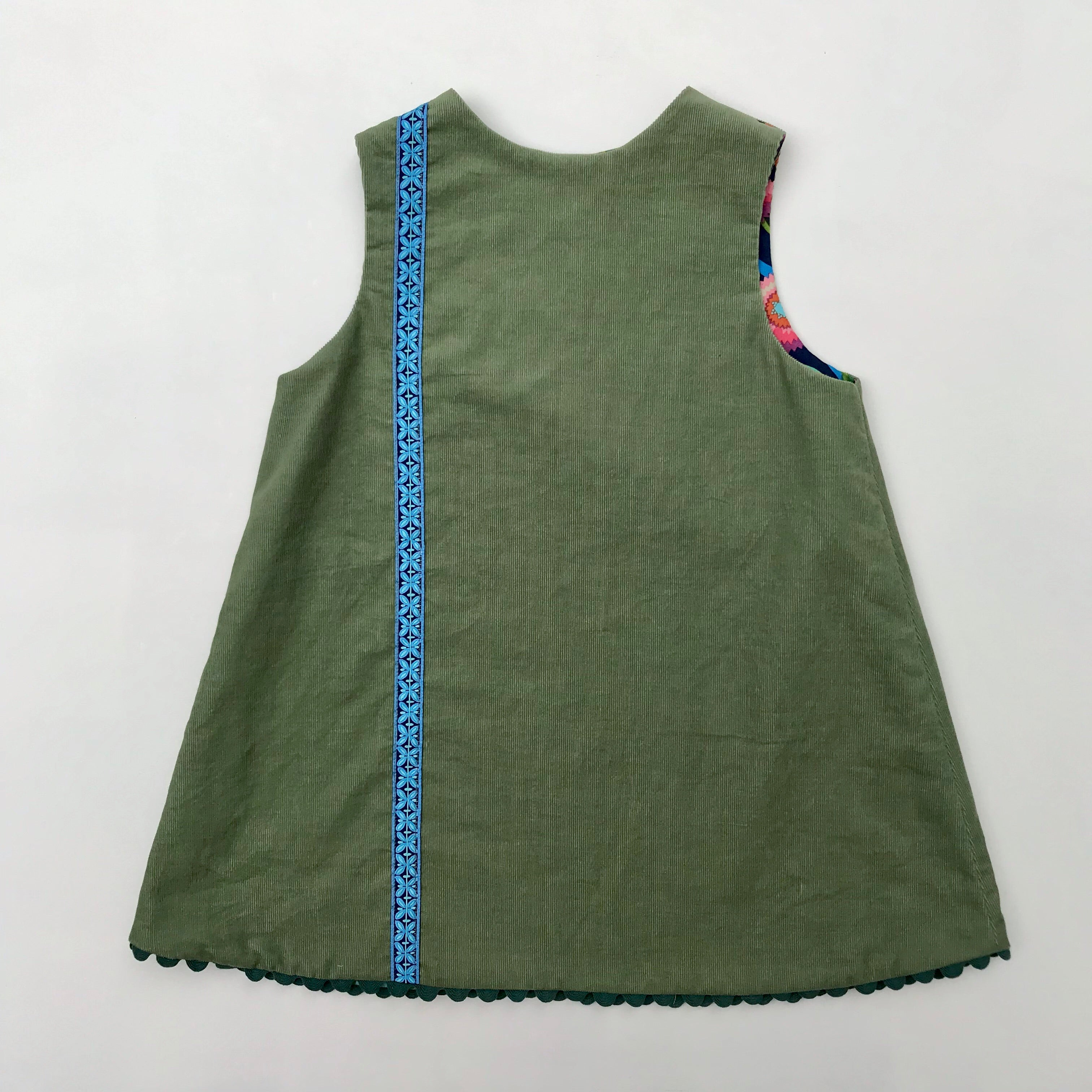 reversible corduroy stripe dress in sage green - little girl Pearl