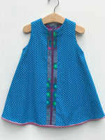 Load image into Gallery viewer, reversible corduroy swing jumper in turquoise polka dot - little girl Pearl
