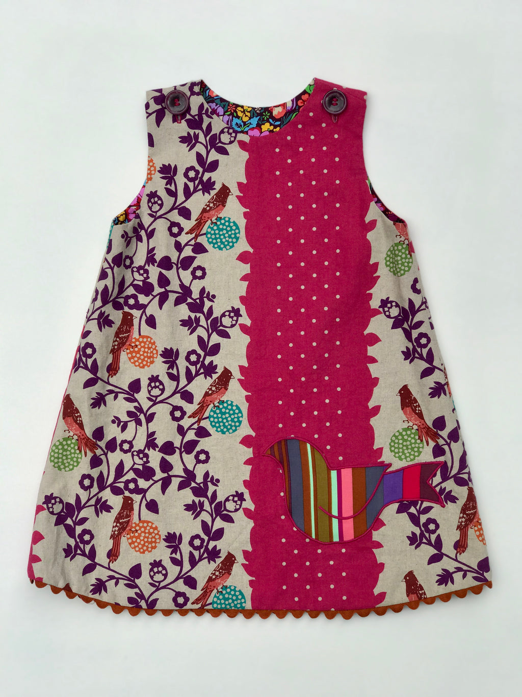bird pocket reversible jumper dress - little girl Pearl