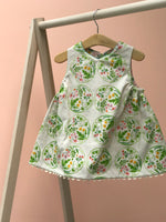 Load image into Gallery viewer, reversible jumper dress in pink and green bouquet - little girl Pearl