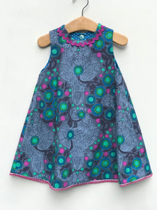 reversible corduroy swing jumper in turquoise polka dot - little girl Pearl