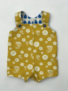 reversible shortalls in Charley Harper dolphin and sand dollar, organic cotton romper - little girl Pearl