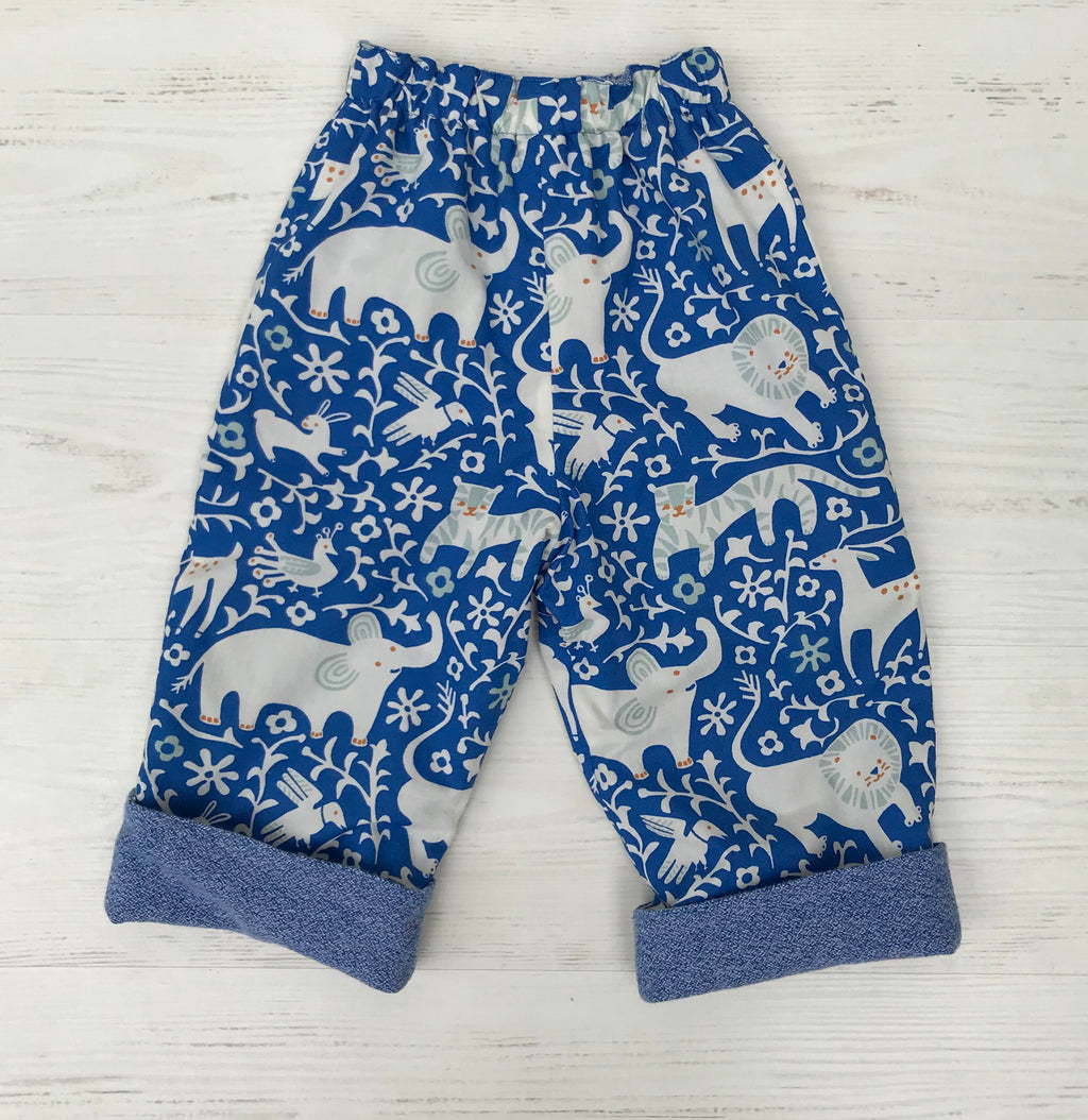 flannel reversible pants in royal blue elephant - little girl Pearl