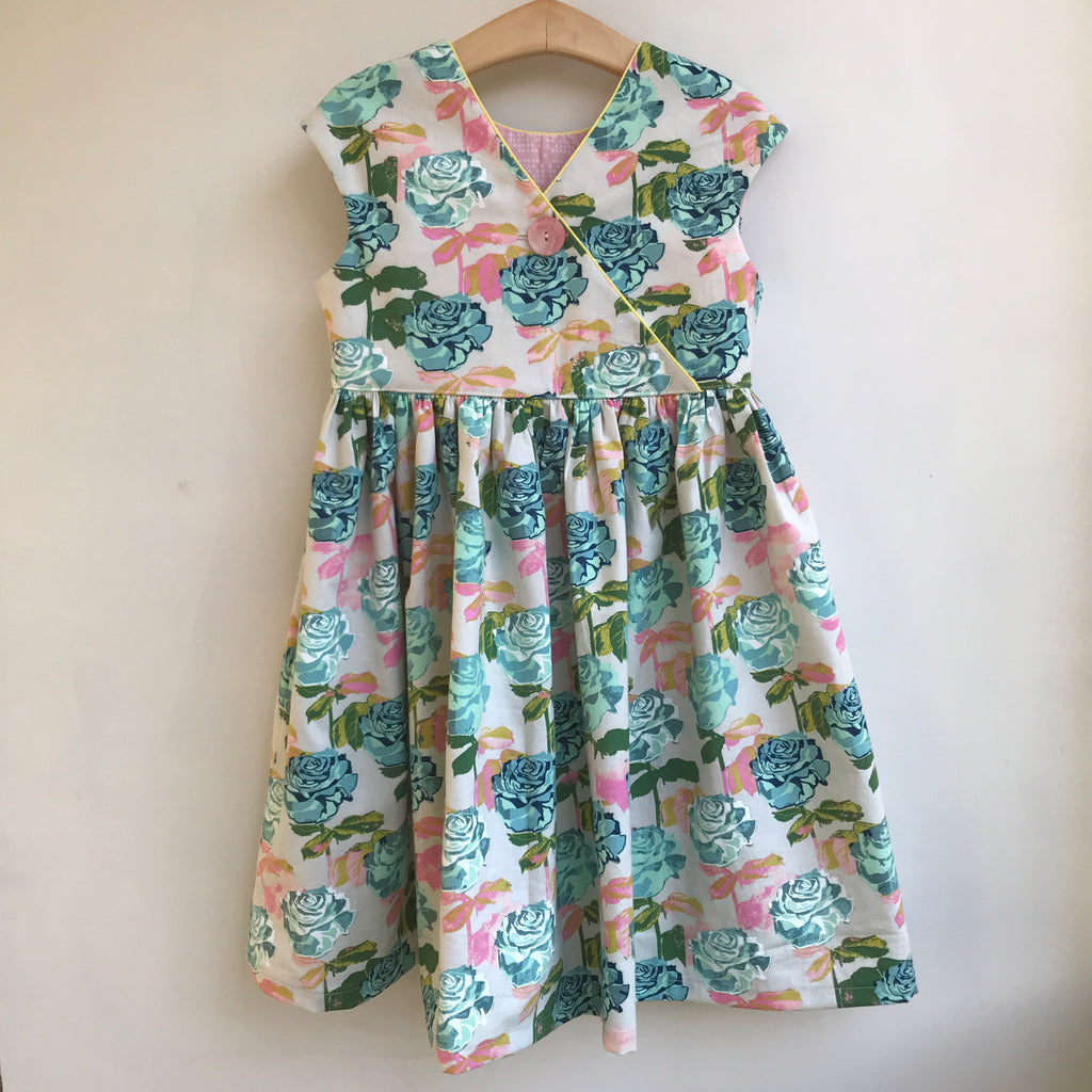 criss cross dress in aqua rose - little girl Pearl