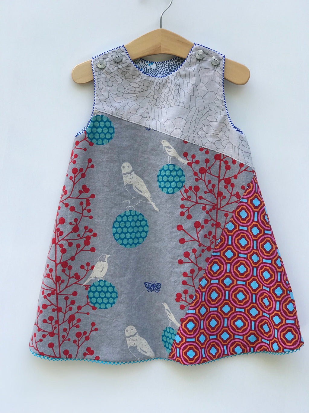 reversible balancing birds dress in gray and teal - little girl Pearl