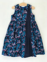 Load image into Gallery viewer, ruffle pop dress in navy wandering vine - little girl Pearl