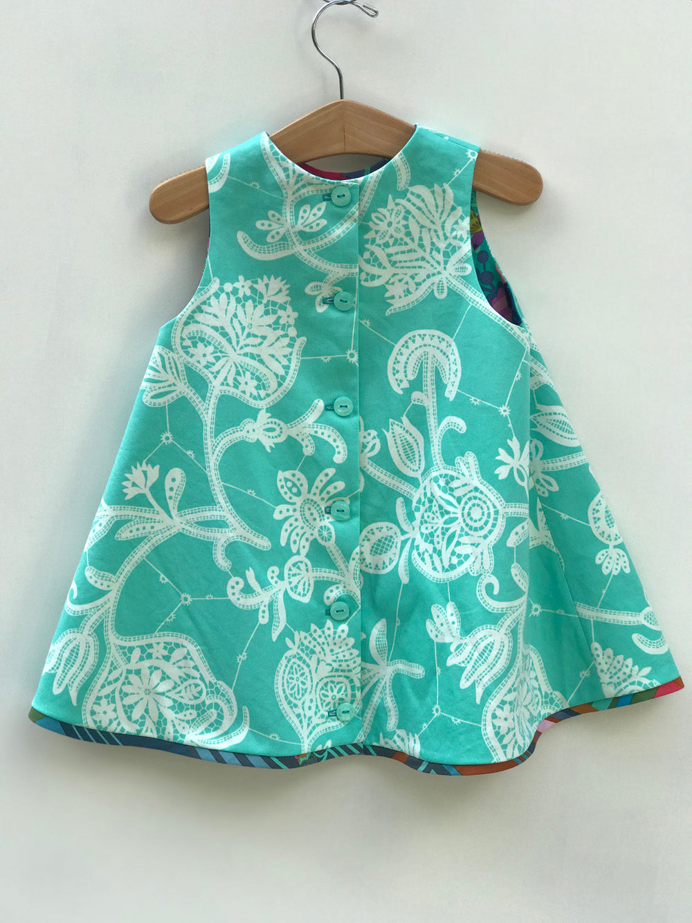 reversible intertwine dress in jade and peach - little girl Pearl
