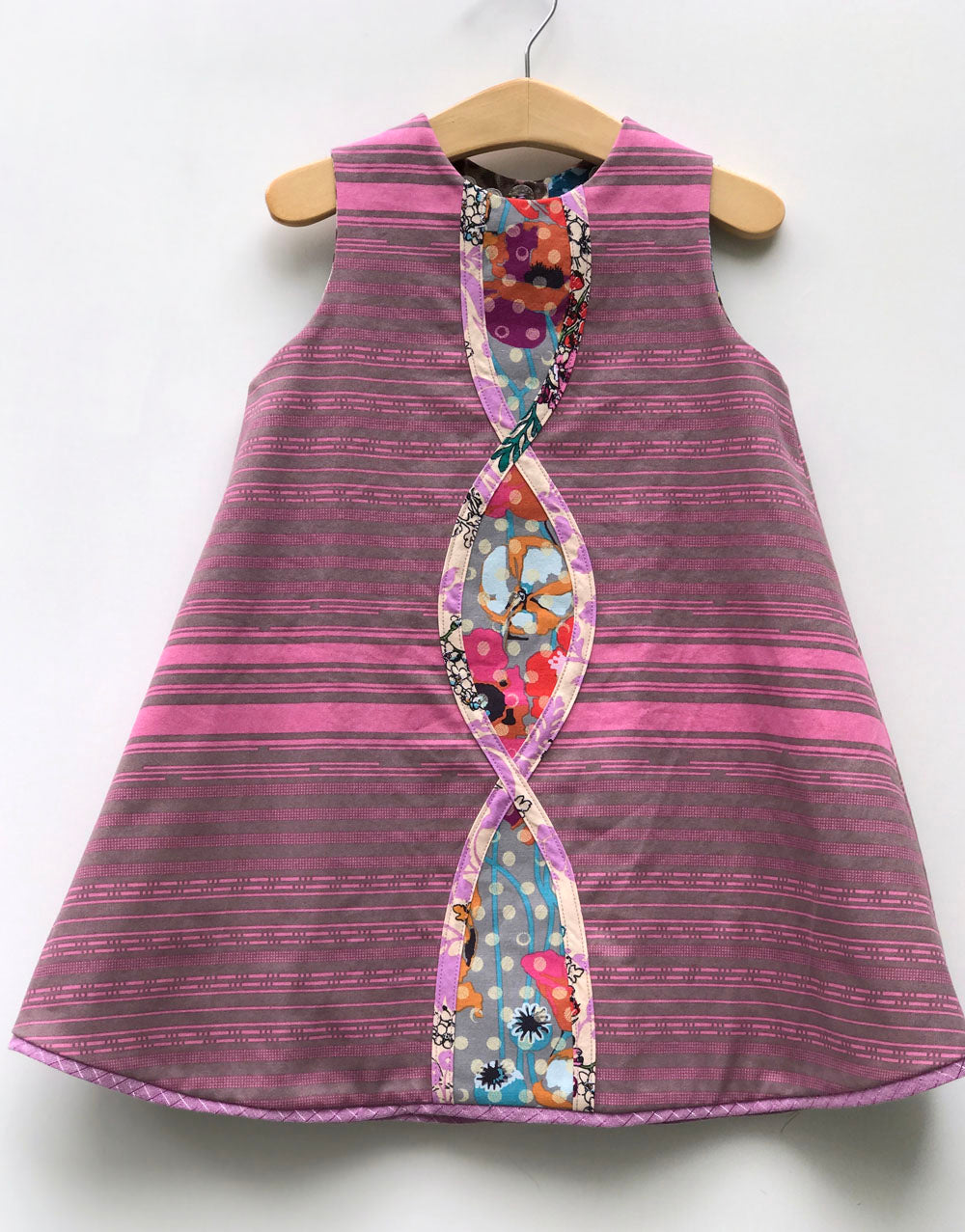 intertwine dress in soft mauve and leopard - little girl Pearl