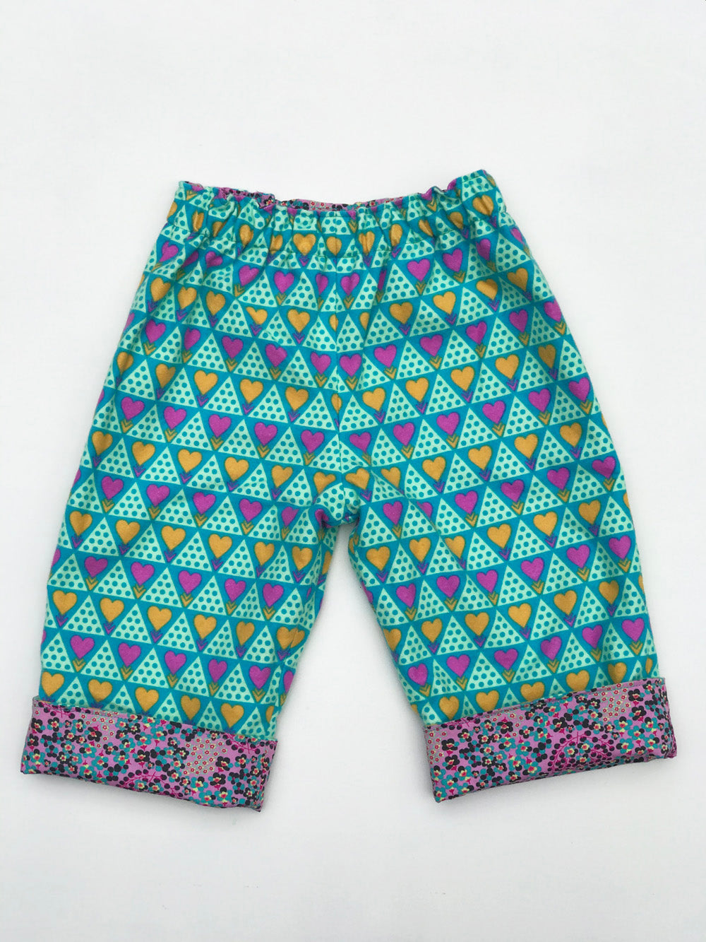 reversible pants in jade heart - little girl Pearl