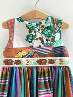 Load image into Gallery viewer, mad patchwork jumper in jade and coffee, size 5, one of a kind - little girl Pearl