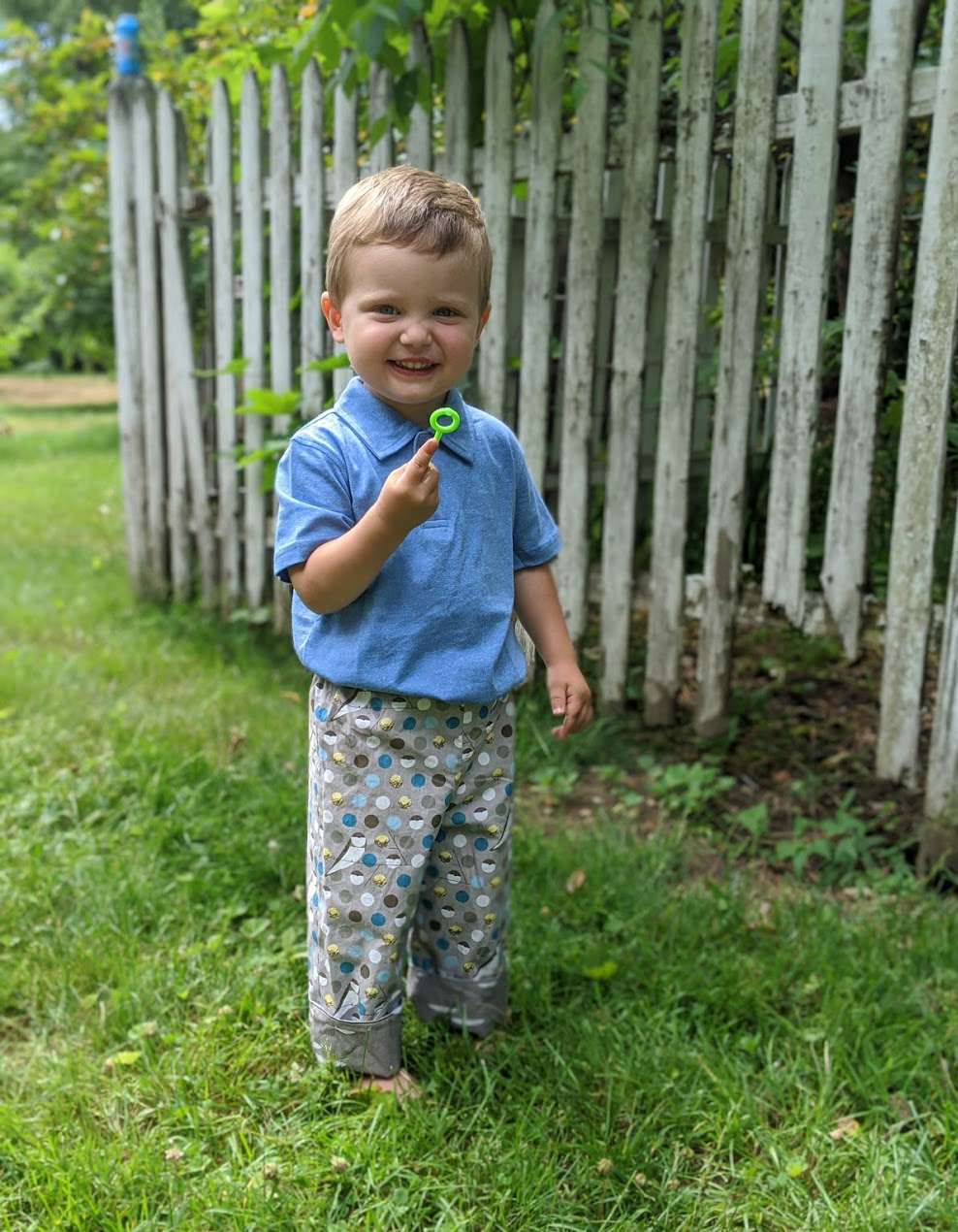organic cotton reversible pants in barn swallow and shroom, charley harper - little girl Pearl