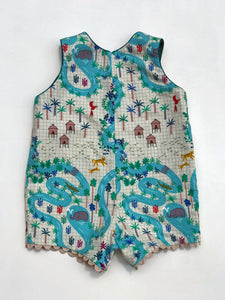reversible romper in jungle map, LIMITED EDITION - little girl Pearl