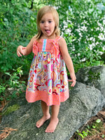 Load image into Gallery viewer, knot dress in peach and pink kite tails - little girl Pearl