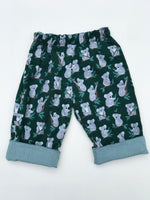 Load image into Gallery viewer, reversible pants in hunter green koala bear - little girl Pearl