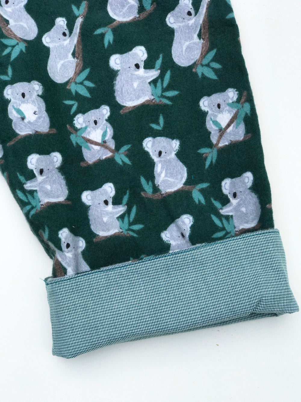 reversible pants in hunter green koala bear - little girl Pearl