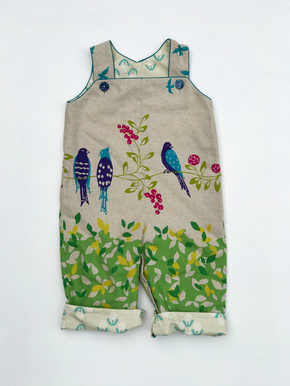 reversible overalls in green birdsong, LIMITED EDITION - little girl Pearl