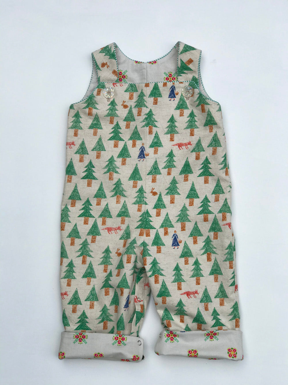 "reversible overalls in ""into the woods"" - little girl Pearl"