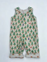 "Load image into Gallery viewer, reversible overalls in ""into the woods"" - little girl Pearl"
