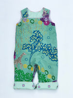 Load image into Gallery viewer, reversible overalls in mint savannah - little girl Pearl