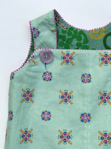 reversible overalls in mint savannah - little girl Pearl