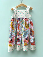 Load image into Gallery viewer, knot dress in ivory moth and polka dots - little girl Pearl
