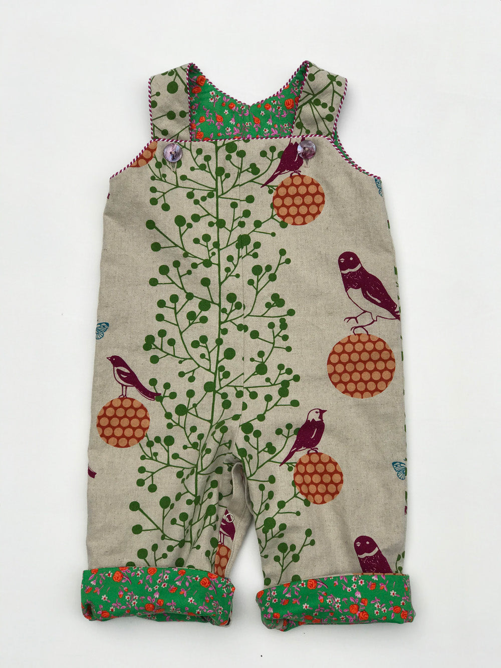 reversible overalls in natural balancing bird - little girl Pearl
